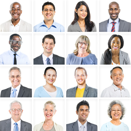 Business People Corporate Set of Faces Concept Banco de Imagens
