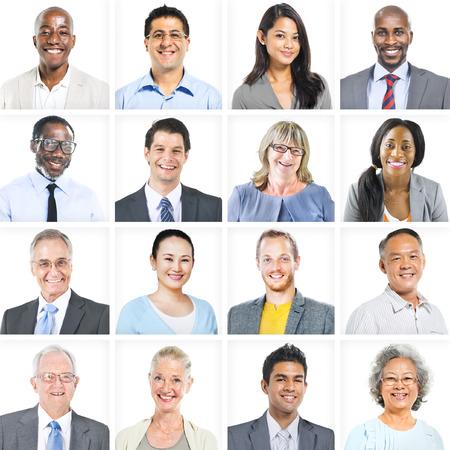 professionnel: Hommes d'affaires d'entreprise ensemble de faces Concept