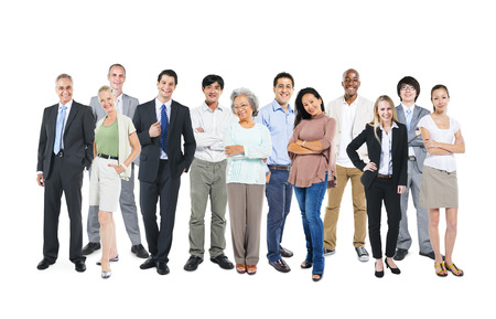 Business people standing and happy Stock Photo