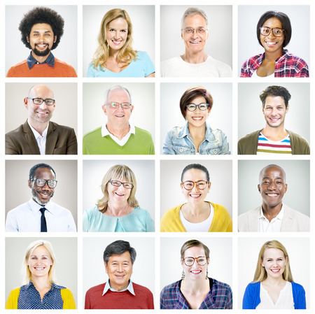 Portraits of Multiethnic Diverse Colorful People Stockfoto