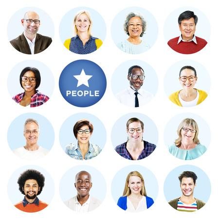 Headshots of Multi-Ethnic Group of People Isolated Stock Photo
