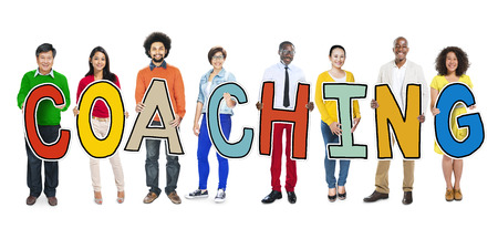 DIverse People Holding Text Coaching