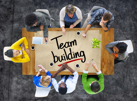 team building: People in a Meeting and Team Building Concepts Stock Photo