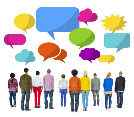 facing backwards: Group of Multiethnic People Facing Backwards with Speech Bubbles