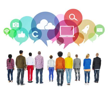 facing backwards: Multiethnic People Facing Backwards with Social Media Symbols