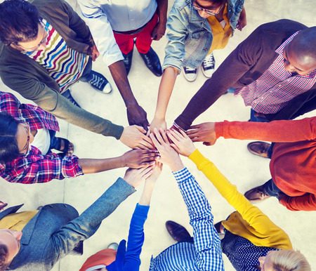 diverse hands: Diverse and Casual People and Togetherness Concept