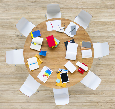 mess: Office Table with Equpments and Documents Stock Photo