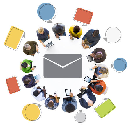 Diverse People Using Digital Devices with E-mail Symbol photo