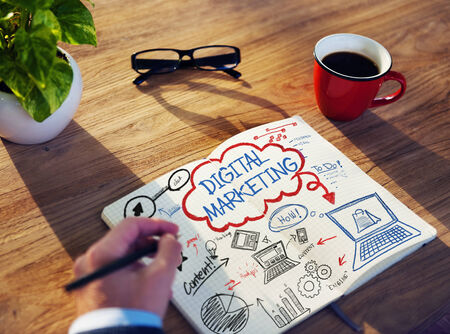 digital marketing: Businessman Sketching About Digital Marketing Concept