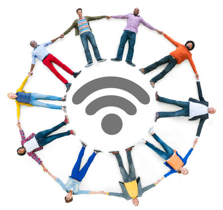 wireless technology: Multiethnic People Forming Circle and Wireless Technology Concept