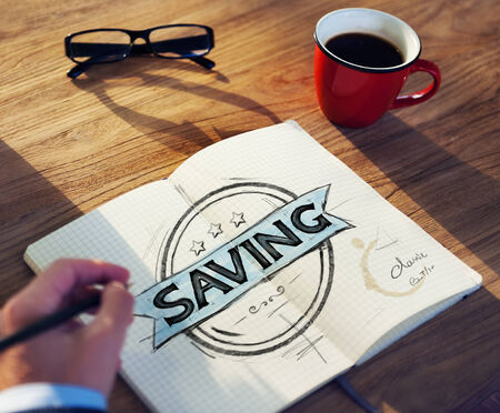 long term goal: Businessmans table with Saving Concept