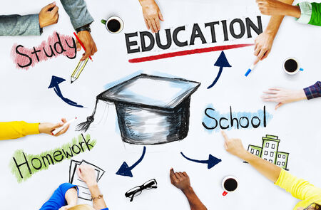 learning concept: Hands on whiteboard with Education Concepts Stock Photo