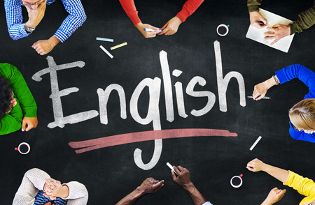 learning english: Multi-Ethnic Group of Children and English Concept