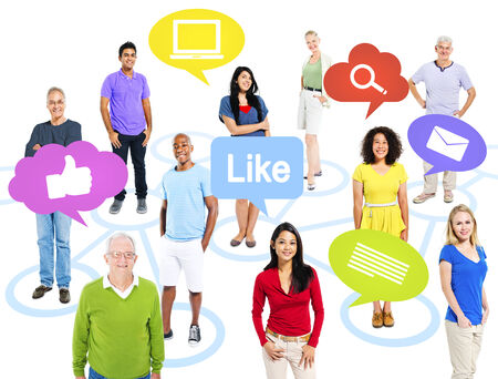 Group of multi-ethnic colorful world people with social media icons. photo