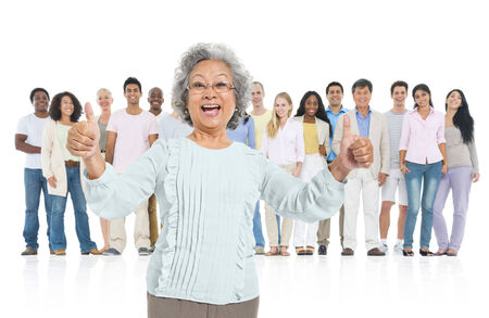 standing out from the crowd: Senior adult feel glad and standing out from crowd