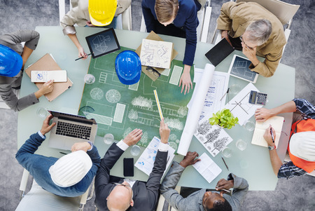 group plan: Architects Planning Around the Conference Table