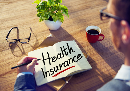 insurance concepts: A Man Brainstorming with Health Insurance