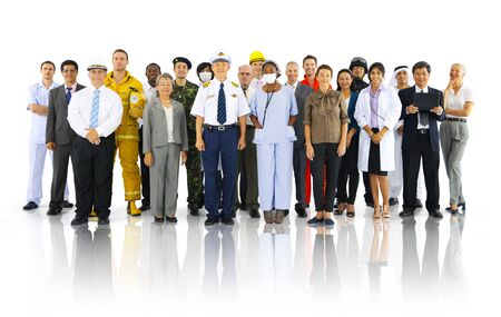 fireman: Large Group of People from Various Profession Stock Photo