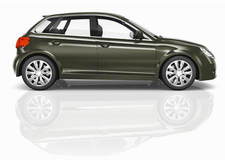 hatchback: Dark Green 3D Hatchback Car Illustration