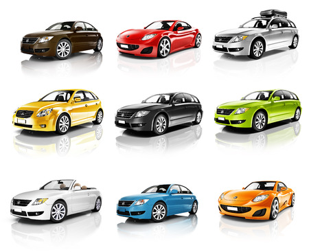 car side view: Collection of 3D Cars Isolated Stock Photo