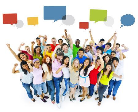 successfulness: Large Group of People Celebrating Stock Photo