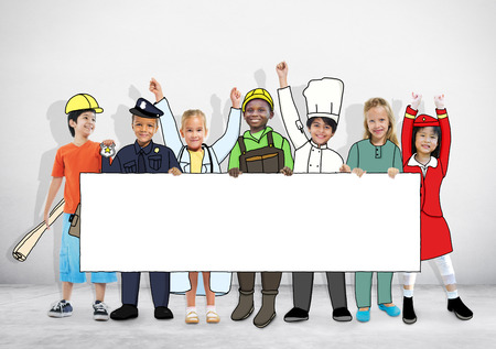 cabin attendant: Group of Children in Dreams Job Uniform Holding Banner with Copy Space Stock Photo