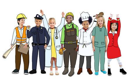 cabin attendant: Group of Children in Dreams Job Uniform