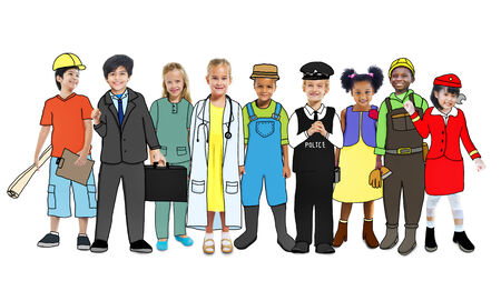 various occupations: Diverse Children with Various Occupations Concept Stock Photo