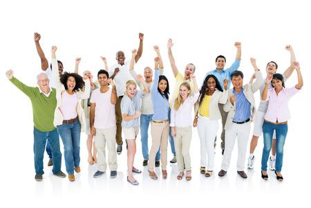 mixed age: Group Celebration Stock Photo
