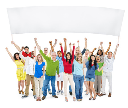 people  camera: Multi-Ethnic Group Of Casual People With Their Arms Raised And Holding Empty Banner For A Copy Space.