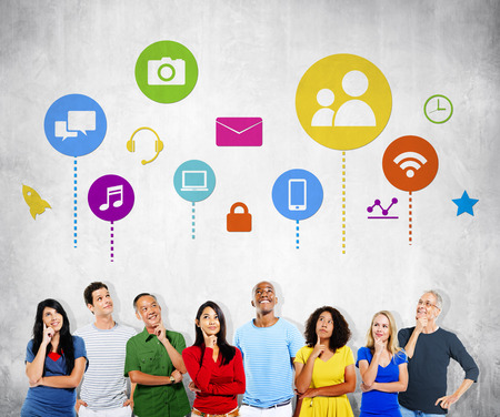 social media icons: Diverse Diversity Ethnic Ethnicity Togetherness Team Partnership Concept Stock Photo