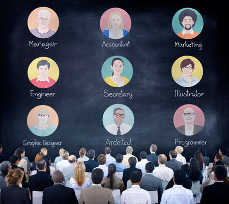 social gathering: Diverse Business People in a Seminar About Occupation Stock Photo