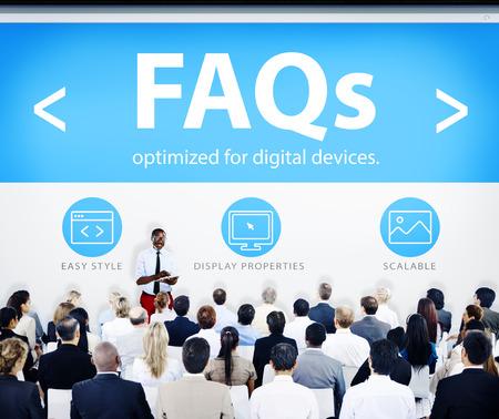 faqs: Business People Presentation Seminar FAQs Concept