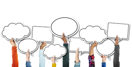 Group of Hands Holding Speech Bubbles Stockfoto