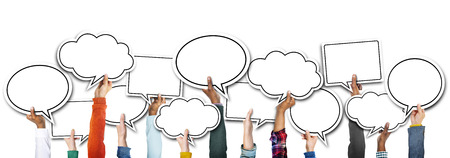 Group of Hands Holding Speech Bubbles 版權商用圖片