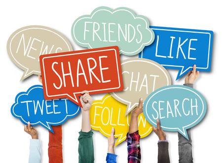 Group of Hands Holding Speech Bubble with Social Issue Concepts Stock Photo