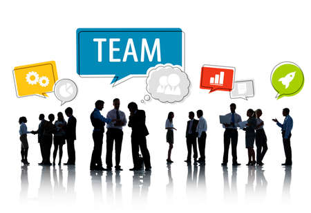 Business People Silhouettes Working and Symbols in Speech Bubbles Above photo