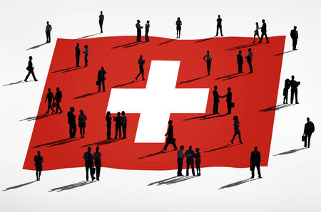 switzerland flag: Switzerland flag and a group of business people.