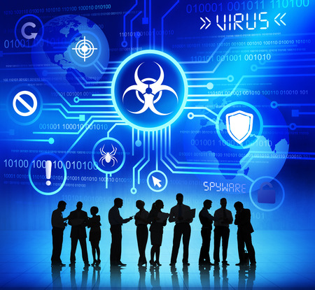 Group of Corporate People Discussing About Global Internet Security Stock Photo