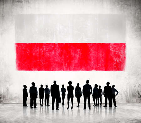 people looking up: Silhouettes of Business People and a Flag of Poland