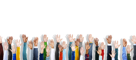 participation: Group of Multiethnic Diverse Hands Raised Stock Photo