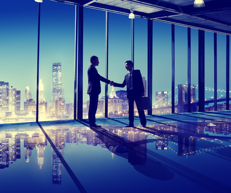 asian business team: Business People Hand Shake Office City Concept