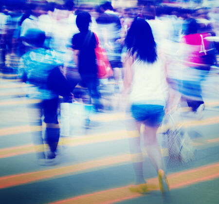 blurred people: Group of People Pedestrian Rush Hour Concept