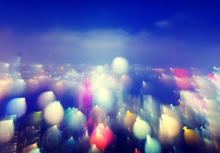 city scape: City Scape Colorful Lights Concept Stock Photo