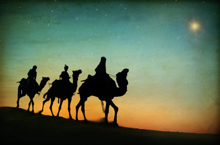 Drie Koningen Desert Star of Bethlehem Geboorte Concept