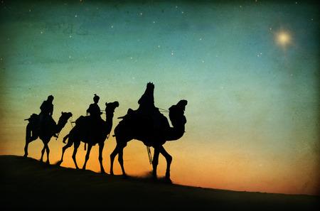 nascita di gesu: Tre Re Desert Stella di Betlemme nativit� Concetto