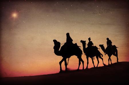 three wise men: Three Kings Desert Star of Bethlehem Nativity Concept