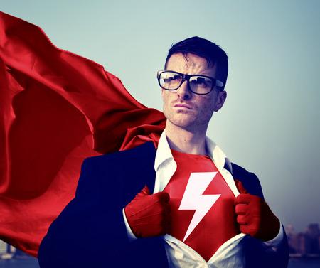 blitz symbol: Starke Superhero Kaufmann Lightning Bolt Konzepte