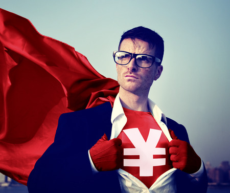 changing form: Strong Superhero Businessman Currency Sign Concepts Stock Photo