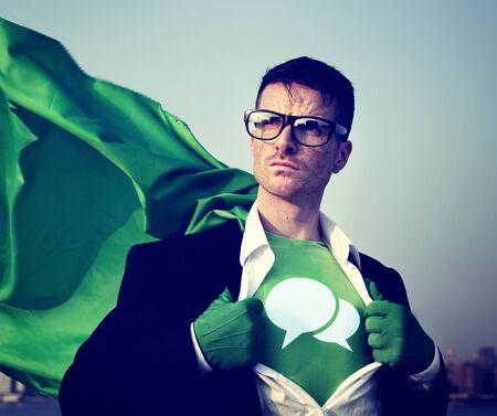empowerment: Speech bubbles Strong Superhero Success Professional Empowerment Stock Concept Stock Photo
